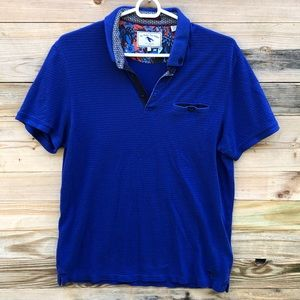 Ted Baker | Mens Blue Textured Polo Size 4 (large)